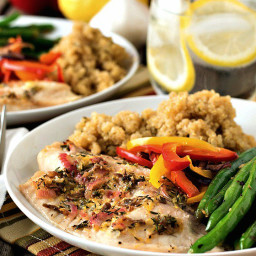 Baked Tilapia with Quinoa and Garlicky Green Beans