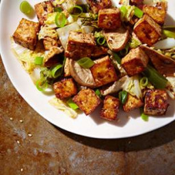 Baked Tofu Stir-Fry with Cabbage and Shiitakes