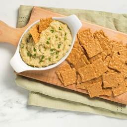 Baked White Bean and Artichoke Dip with Crackers
