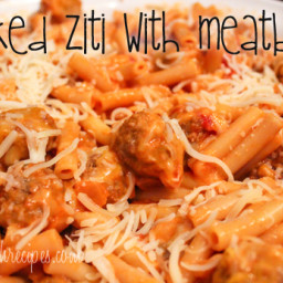 Baked Ziti with Meatballs | Easy, Cheesy and Delicious
