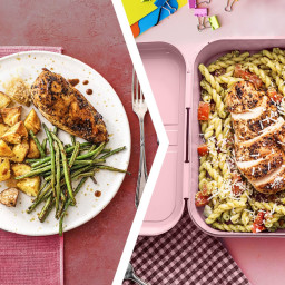 Balsamic Chicken Dinner with a Chicken Pesto Pasta for Lunch