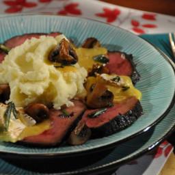 Balsamic Marinated Roast Beef, Mashed Potatoes, Sauteed Mushrooms, Baked Ca