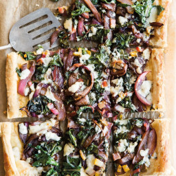 Balsamic-Red Onion, Chard and Gorgonzola Tart