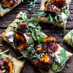 Balsamic Roasted Peach, Basil Chicken and Prosciutto Tarts.