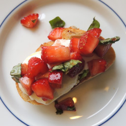 Balsamic Strawberries with Basil and Burrata on Baguette
