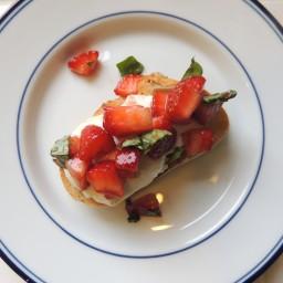 Balsamic Strawberries with Basil & Burrata on Baguette