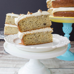 Banana Cake with Brown Sugar Cream Cheese Frosting