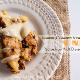 Banana-Cinnamon Bread Pudding with Vanilla Sauce - Tusker House