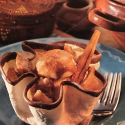 Banana Rum Salsa Over Ice Cream in Tortilla Baskets