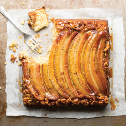 Banana Upside-Down Cake with Walnuts and Coconut