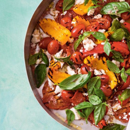 Barbecued capsicum and tomato salad with fetta and basil