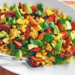 Barbecued corn and chorizo salad