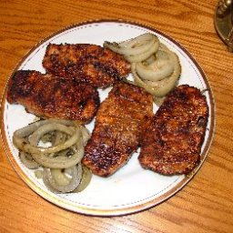 Barbecued Pork Loin with Grilled Onions