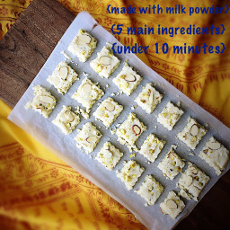 Barfi {Milk Fudge} - 5 Ingredients and Quick to Make with Milk Powder