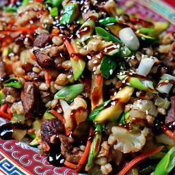 Barley Stir Fry with Baby Back Pork Ribs and Steamed Vegetables