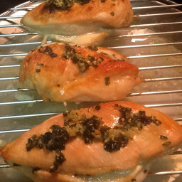 Basil-Garlic Chicken Breasts with Peaches