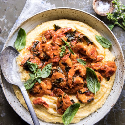 Basil Pomodoro Shrimp with Creamed Corn Polenta