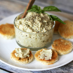 Basil Walnut Spread with Garlic and Parmesan Cheese