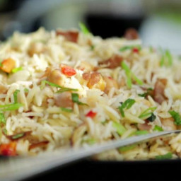 Basmati Rice Pilaf with Prosciutto, Garbanzo Beans and Orzo
