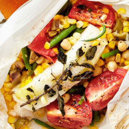 Bass Packets with Tomato, Corn, Chickpeas, and Olives