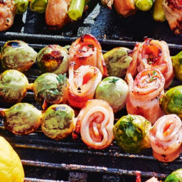 BBQ brussels sprout andbacon skewers