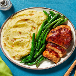 BBQ Pork & Apple Meatloaves with Garlic Mashed Potatoes & Roasted Green Bea