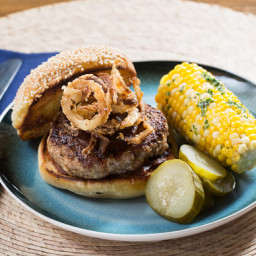 BBQ Pork Burgers and Corn on the Cobwith Crispy Onion Rings and Garlic-Herb