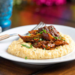BBQ Pork with Cheesy Grits