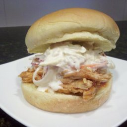 BBQ Pulled chicken sandwiches with coleslaw