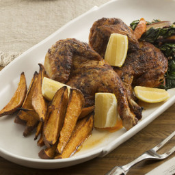 BBQ Roasted Chickenwith Maple Sweet Potato and Collard Greens