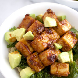 BBQ Tofu Bowls with Avocado, Quinoa and Kale