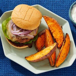 BBQ Turkey Burgers with Roasted Sweet Potato Wedges & Scallion Sour Cre