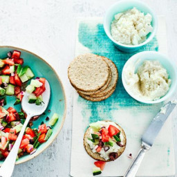 Bean and feta spread with Greek salad salsa and oatcakes