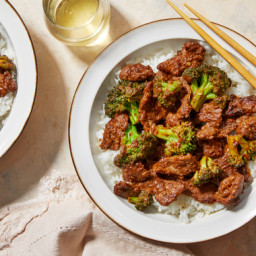 Beef & Broccoli in Cumin-Spiced Sauce with Garlic Rice