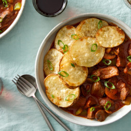 Beef & Mushroom Stew with Roasted Potatoes
