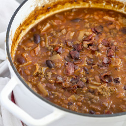 Beef and Bacon Baked Beans (aka Cowboy Beans)