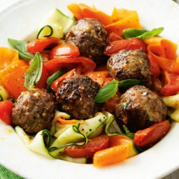 Beef and mushroom meatballs with 'pappardelle'