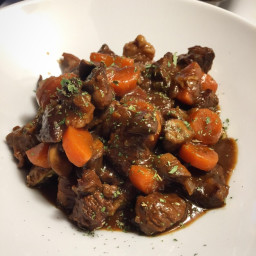 Beef and Mushroom Stew on Roasted Potatoes