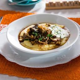 Beef and Mushroom Stroganoff over Creamy Polenta