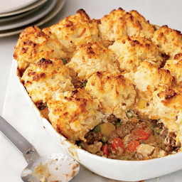 Beef-and-Vegetable Potpie with Cheddar Biscuits