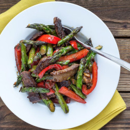 Beef, Asparagus, and Red Bell Peppers