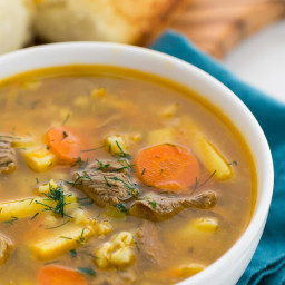 Beef, Barley and Pickle Soup (Rassolnik)