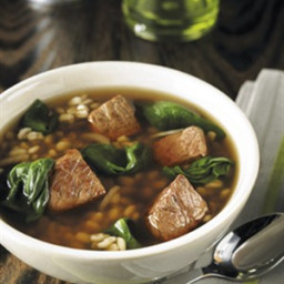 BEEF BARLEY SOUP WITH SPINACH