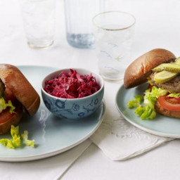 Beef burgers with beetroot and carrot slaw
