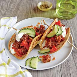 Beef Flatbread Tacos with Cucumber and Yogurt Sauce