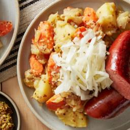 Beef Knockwurst & Sauerkraut with Potato Salad & Whole Grain Mustar