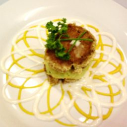 Beef Loaf with Mashed Sweet Potatoes in Squash Sauce and Coconut Bechamel