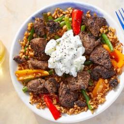 Beef Shawarma Bowls with Harissa Vegetables & Cucumber Yogurt