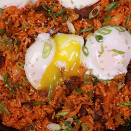 Beef Short Rib Kimchi Fried Rice and Soft Boiled Eggs
