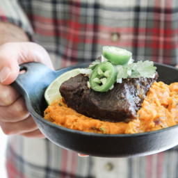 Beef Short Ribs with Chipotle Smashed Sweet Potatoes